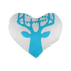 Party Deer With Bunting Standard 16  Premium Heart Shape Cushions
