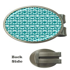 Teal And White Owl Pattern Money Clips (Oval)