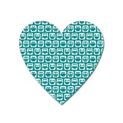 Teal And White Owl Pattern Heart Magnet