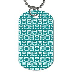 Teal And White Owl Pattern Dog Tag (Two Sides)