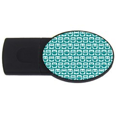 Teal And White Owl Pattern USB Flash Drive Oval (1 GB)