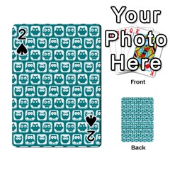 Teal And White Owl Pattern Playing Cards 54 Designs