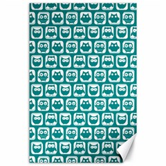 Teal And White Owl Pattern Canvas 24  x 36