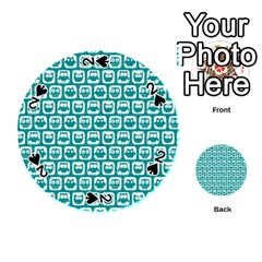 Teal And White Owl Pattern Playing Cards 54 (Round)