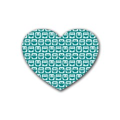 Teal And White Owl Pattern Heart Coaster (4 pack)