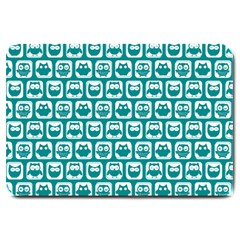 Teal And White Owl Pattern Large Doormat