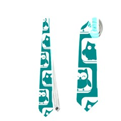 Teal And White Owl Pattern Neckties (One Side)