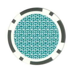 Teal And White Owl Pattern Poker Chip Card Guards