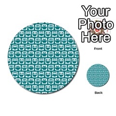 Teal And White Owl Pattern Multi-purpose Cards (Round)