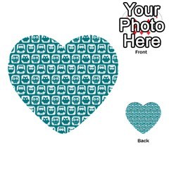 Teal And White Owl Pattern Multi-purpose Cards (Heart)