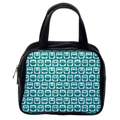 Teal And White Owl Pattern Classic Handbags (One Side)