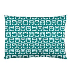 Teal And White Owl Pattern Pillow Cases