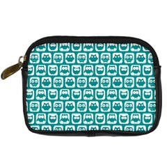Teal And White Owl Pattern Digital Camera Cases
