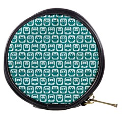 Teal And White Owl Pattern Mini Makeup Bags
