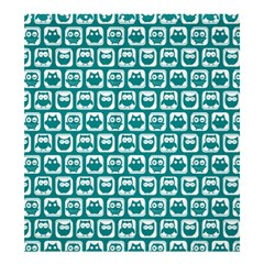 Teal And White Owl Pattern Shower Curtain 66  x 72  (Large)
