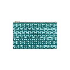 Teal And White Owl Pattern Cosmetic Bag (Small)