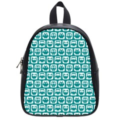 Teal And White Owl Pattern School Bags (Small)
