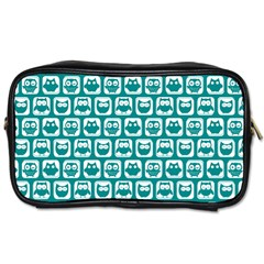 Teal And White Owl Pattern Toiletries Bags 2-Side