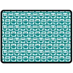 Teal And White Owl Pattern Fleece Blanket (Large)