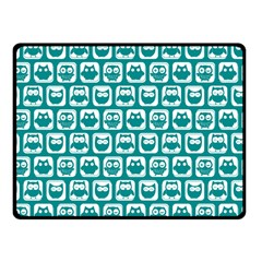 Teal And White Owl Pattern Fleece Blanket (Small)