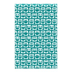 Teal And White Owl Pattern Shower Curtain 48  x 72  (Small)