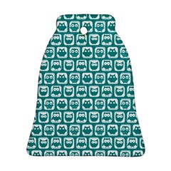 Teal And White Owl Pattern Ornament (bell)