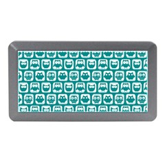 Teal And White Owl Pattern Memory Card Reader (Mini)