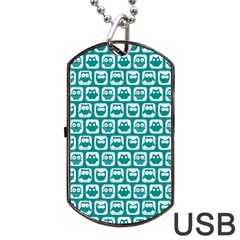 Teal And White Owl Pattern Dog Tag USB Flash (One Side)