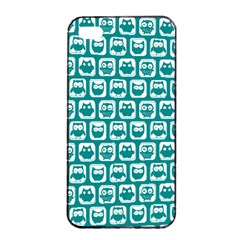 Teal And White Owl Pattern Apple iPhone 4/4s Seamless Case (Black)