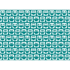 Teal And White Owl Pattern Birthday Cake 3D Greeting Card (7x5)