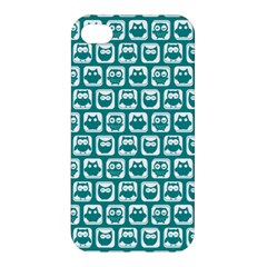 Teal And White Owl Pattern Apple iPhone 4/4S Hardshell Case