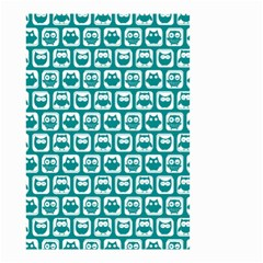 Teal And White Owl Pattern Small Garden Flag (two Sides)