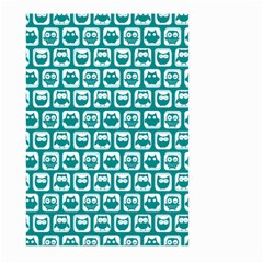 Teal And White Owl Pattern Large Garden Flag (Two Sides)