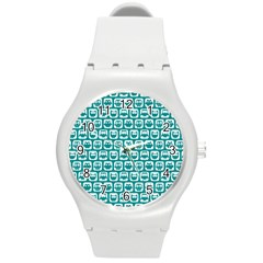 Teal And White Owl Pattern Round Plastic Sport Watch (M)
