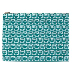 Teal And White Owl Pattern Cosmetic Bag (XXL)
