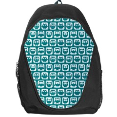 Teal And White Owl Pattern Backpack Bag