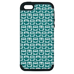 Teal And White Owl Pattern Apple iPhone 5 Hardshell Case (PC+Silicone)