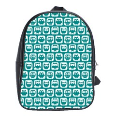 Teal And White Owl Pattern School Bags (XL)