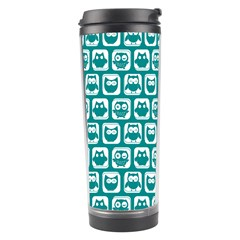 Teal And White Owl Pattern Travel Tumblers
