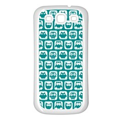 Teal And White Owl Pattern Samsung Galaxy S3 Back Case (White)
