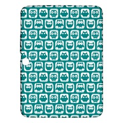 Teal And White Owl Pattern Samsung Galaxy Tab 3 (10.1 ) P5200 Hardshell Case
