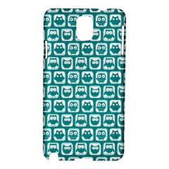 Teal And White Owl Pattern Samsung Galaxy Note 3 N9005 Hardshell Case