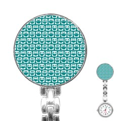 Teal And White Owl Pattern Stainless Steel Nurses Watches