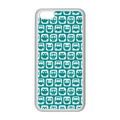 Teal And White Owl Pattern Apple iPhone 5C Seamless Case (White)