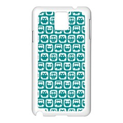 Teal And White Owl Pattern Samsung Galaxy Note 3 N9005 Case (White)