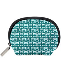 Teal And White Owl Pattern Accessory Pouches (Small)