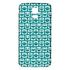 Teal And White Owl Pattern Samsung Galaxy S5 Back Case (White)