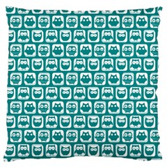 Teal And White Owl Pattern Large Flano Cushion Cases (One Side)