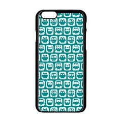 Teal And White Owl Pattern Apple Iphone 6 Black Enamel Case