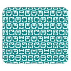 Teal And White Owl Pattern Double Sided Flano Blanket (Small)